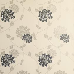 Бумажные обои в крупные цветы хризантемы черного и бежевого цвета ISODORE (Charcoal/Linen)