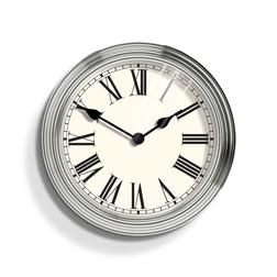 Круглые настенные часы стального цвета GALLERY WALL Ø38 (Chrome)