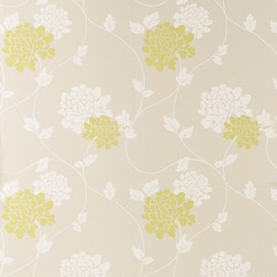 Тонкие бумажные обои в цветы хризантемы белого и оливкового цвета ISODORE (Olive)