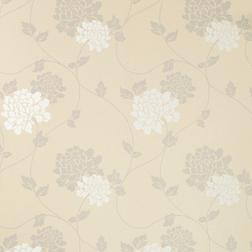 Бумажные обои в цветы хризантемы белого и серебристого цвета ISODORE (Silver)