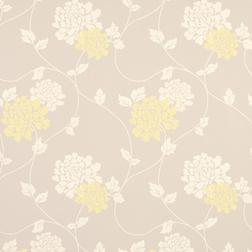 Тонкие бумажные обои в цветы хризантемы трюфельного и желтого цвета ISODORE (Truffle/Camomile)