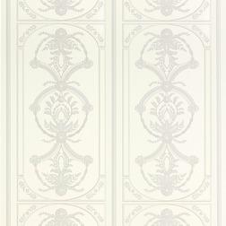 Обои с крупным вертикальным рисунком цветов и полоски PALLADIAN (White/Dove grey)