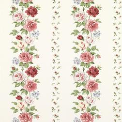 Бумажные обои в красивые цветы розы красного и белого цвета CLARISSA (Multi/Ivory)