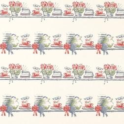Бумажные обои с рисунком кухонных предметов, цветов и книг PANTRY (Seaspray)