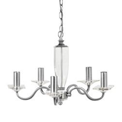 Люстра на 5 лампочек из металла стального цвета и стекла CARSON 5 ARM (Nickel)
