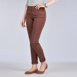 Стрейчевые зауженные джины коричневого цвета TR 019