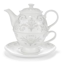 Набор чашка с чайником с красивым рисунком светло-серого цвета  JOSETTE TEA FOR ONE  16*17*16, Ø17
