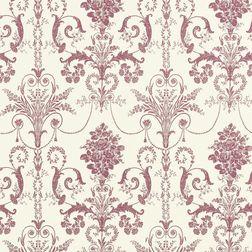 Бумажные обои с роскошным рисунком светло-бордового цвета JOSETTE (Cassis/White)
