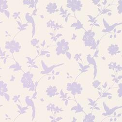Бумажные обои с красивым рисунком  с изображением птиц и растительности  FARLEIGH (Amethyst)