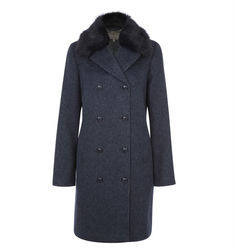 Шерстяное пальто серого цвета с меховым воротом CT 366