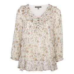 Легкая блуза бежевого цвета с цветочным принтом и рукавом 3/4 BL 273