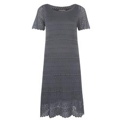 Кружевное платье серого цвета с коротким рукавом MD 759