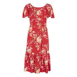 Шелковое платье красного цвета с цветочным принтом MD 830