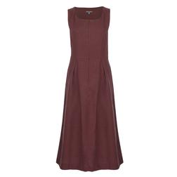 Льняное платье без рукава бордового цвета MD 836