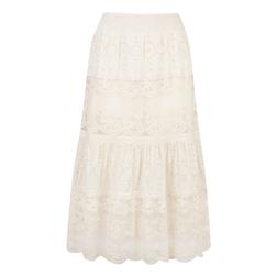 Кружевная юбка белого цвета с вышивкой MS 676