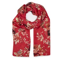 Шелковый шарф красного цвета с цветочным принтом SH 764