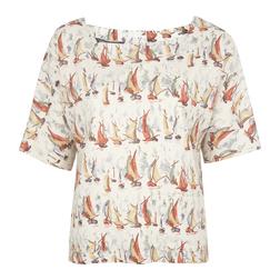 Блуза бежевого цвета с принтом корабликов BL 186