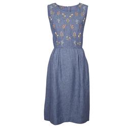 Изысканное платье-сарафан синего цвета из льна MD 837
