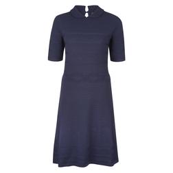 Красивое платье темно-синего цвета с рубашечным воротничком MD 866