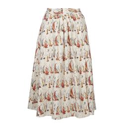 Красивая юбка-колокольчик с принтом корабликов MS 632