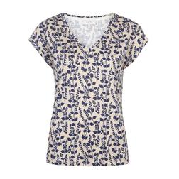 Оригинальная футболочка телесного цвета принтом цветов синего цвета TS 929