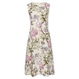 Платье из льна и вискозы с крупным цветочным принтом MD 902 Ecru/Crocus
