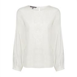 Белоснежная блуза из хлопка и вискозы BL 296