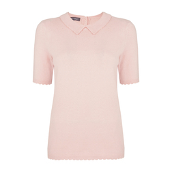 Пуловер с коротким рукавом нежно-розового цвета JP 747