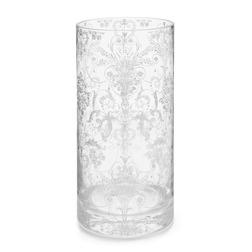 Стеклянная ваза с серебристым цветочным рисунком JOSETTE VASE 25*12 (Silver)