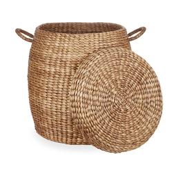 Плетеная корзина с крышкой круглой формы WATER HYACINTH OVAL BASKET & LID 56*50 (Natural)