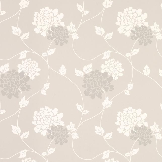 Бумажные обои в крупные цветы хризантемы на фоне светло-серого цвета ISODORE (Dove Grey)