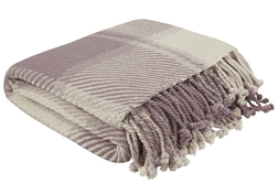 Мягкий плед из хлопка в бежевых и фиолетовых тонах DYLAN 150*200 (Amethyst)