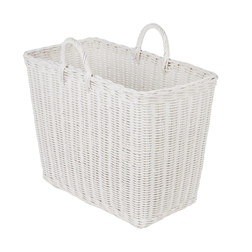 Корзина белого цвета с двумя ручками RATTAN MAGAZINE FILE 42*23*38 (White)