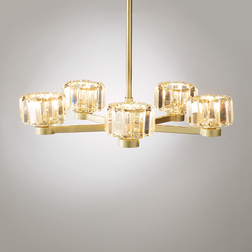 Люстра золотистого цвета со стеклянными абажурами LYRA 5 ARM 37-50*49 (Gold)