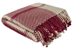 Мягкий плед из хлопка в бежевых и красных тонах DYLAN 150*200 (Cranberry)