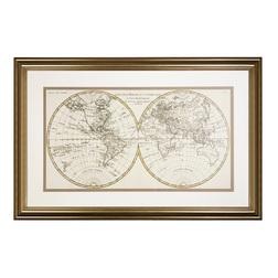 Картина в золотистой раме и под стеклом WORLD FRAMED MAP 54*83 (Antique Style)