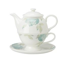 Чашка с чайником в голубые цветы гортензии HYDRANGEA TEA FOR ONE (Duck Egg)