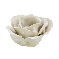 Керамический подсвечник в виде бутона розы FLOWER CERAMIC 12*12*7 (Cream)