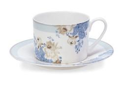 Чашка с блюдцем украшена цветочным рисунком ROSE HILL CUP & SAUCER (Duck Egg)