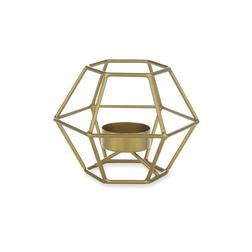 Небольшой подсвечник из металла цвета латунь ELODIE HEXANGONAL TEALIGHT HOLDER 8*11,5 (Gold)
