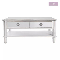 Кофейный столик светло-серого цвета HENSHAW COFFEE TABLE 2DRW 46*100*70 (Pale Steel)