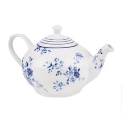 Фарфоровый чайник с рисунком цветов китайской розы CHINA ROSE TEAPOT 14*25 (Blue)