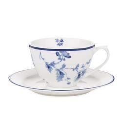 Фарфоровая чашка с блюдцем и рисунком китайской розы CHINA ROSE CUP AND SAUCER 10*7, Ø15 (Blue)