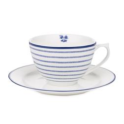 Фарфоровая чашка с блюдцем в тонкую полоску CANDY STRIPE CUP AND SAUCER 10*7, Ø15 (Blue)