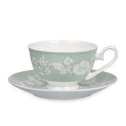 Чайная чашка с блюдцем зелено-голубого цвета LYLA CUP AND SAUCER 15,7*7 (Duck Egg)