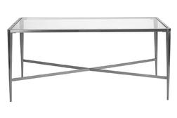 Стильный столик из металла и стекла VENEZIA COFFEE TABLE 50*60*110 (Brushed nickel)