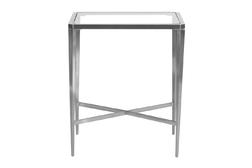 Тумбочка из металла стального цвета со стеклянным верхом VENEZIA SIDE TABLE 80*50*35 (Brushed nickel