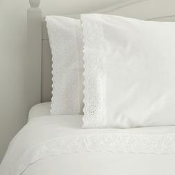 Комплект постели с большим пододеяльником дополнен вышивкой AIMEE KG 230*220, 50*75 set of-2 (White)