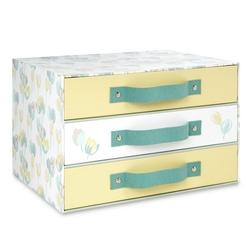 Коробка в нежных оттенках голубого и желтого AVA 3 DRAWER 22*23*33 (Duck Egg)
