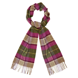 Длинный узкий шарф из шерсти с бахромой в разноцветную клетку SH 300